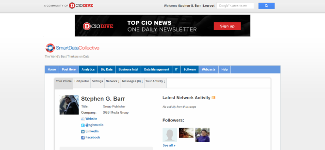 Stephen G. Barr   SmartData Collective