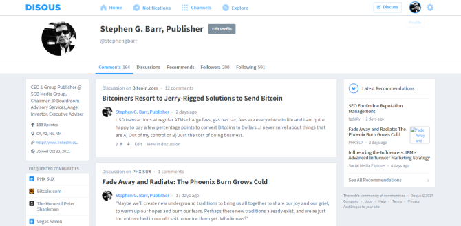 Stephen G. Barr Publisher · Profile · Disqus